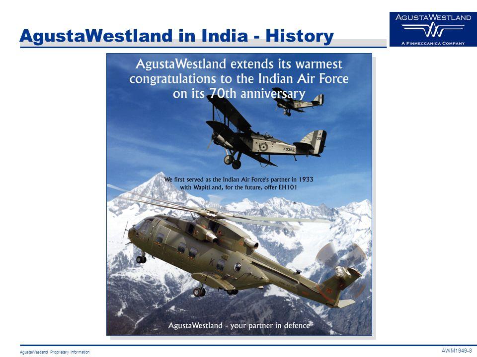 AgustaWestland Proprietary Information AgustaWestland in India - History AWM1949-8