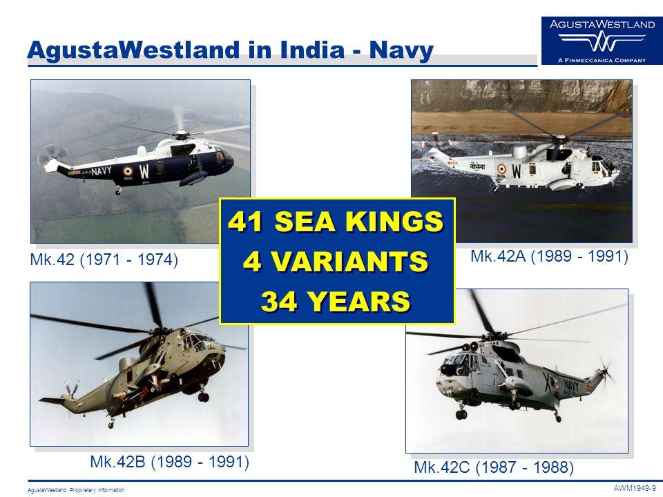 AgustaWestland Proprietary Information AgustaWestland in India - Navy 41 SEA KINGS 4 VARIANTS 34 YEARS 41 SEA KINGS 4 VARIANTS 34 YEARS Mk.42 (1971 -
