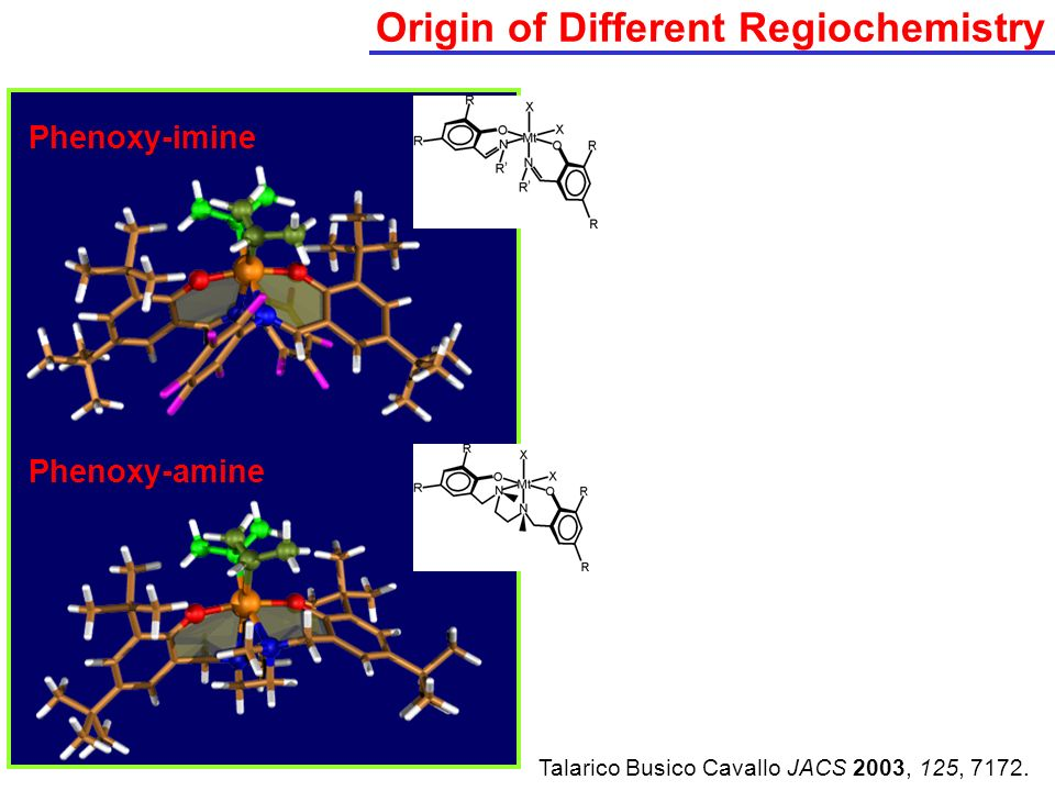 Origin of Different Regiochemistry Phenoxy-imine Phenoxy-amine Talarico Busico Cavallo JACS 2003, 125, 7172.