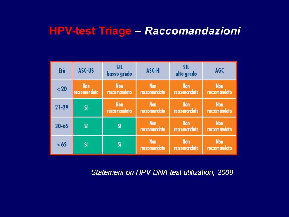 Statement on HPV DNA test utilization, 2009 HPV-test Triage – Raccomandazioni