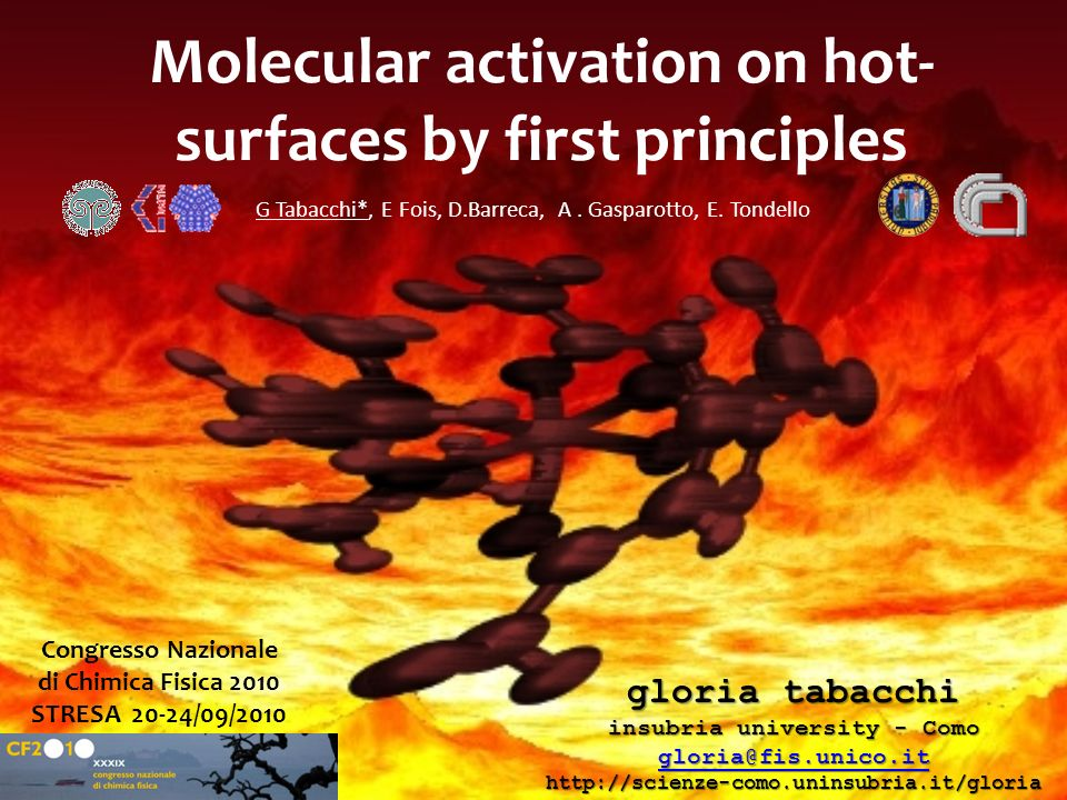 Molecular activation on hot- surfaces by first principles gloria tabacchi insubria university - Como gloria@fis.unico.it http://scienze-como.uninsubri