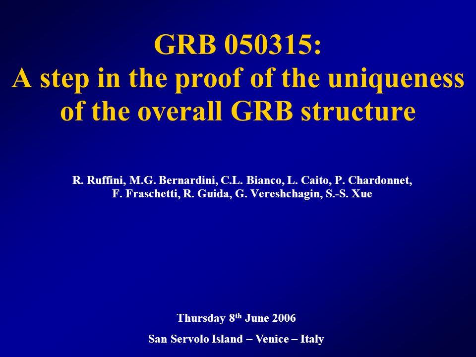 GRB 050315: Instantaneous spectra Ruffini, Bernardini, Bianco, Chardonnet, Fraschetti, Guida, Xue, ApJ Lett., in press.