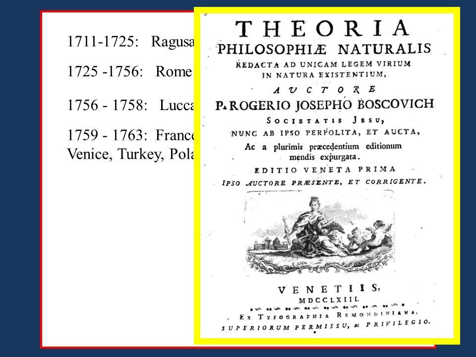 1725 -1756: Rome 1711-1725: Ragusa (Dubrovnik) 1756 - 1758: Lucca, Wien, Rome 1759 - 1763: France (Paris), London, Holland, Germany, Venice, Turkey, Poland, Venice, Rome