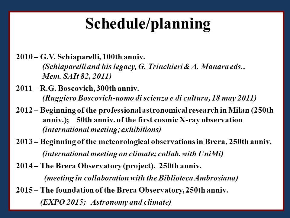 Schedule/planning 2010 – G.V. Schiaparelli, 100th anniv.