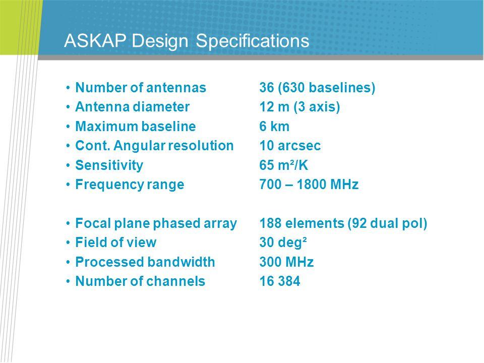 ASKAP Design Specifications Number of antennas36 (630 baselines) Antenna diameter12 m (3 axis) Maximum baseline6 km Cont. Angular resolution10 arcsec