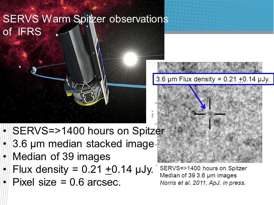 SERVS=>1400 hours on Spitzer 3.6 μm median stacked image Median of 39 images Flux density = 0.21 +0.14 μJy. Pixel size = 0.6 arcsec. SERVS Warm Spitze