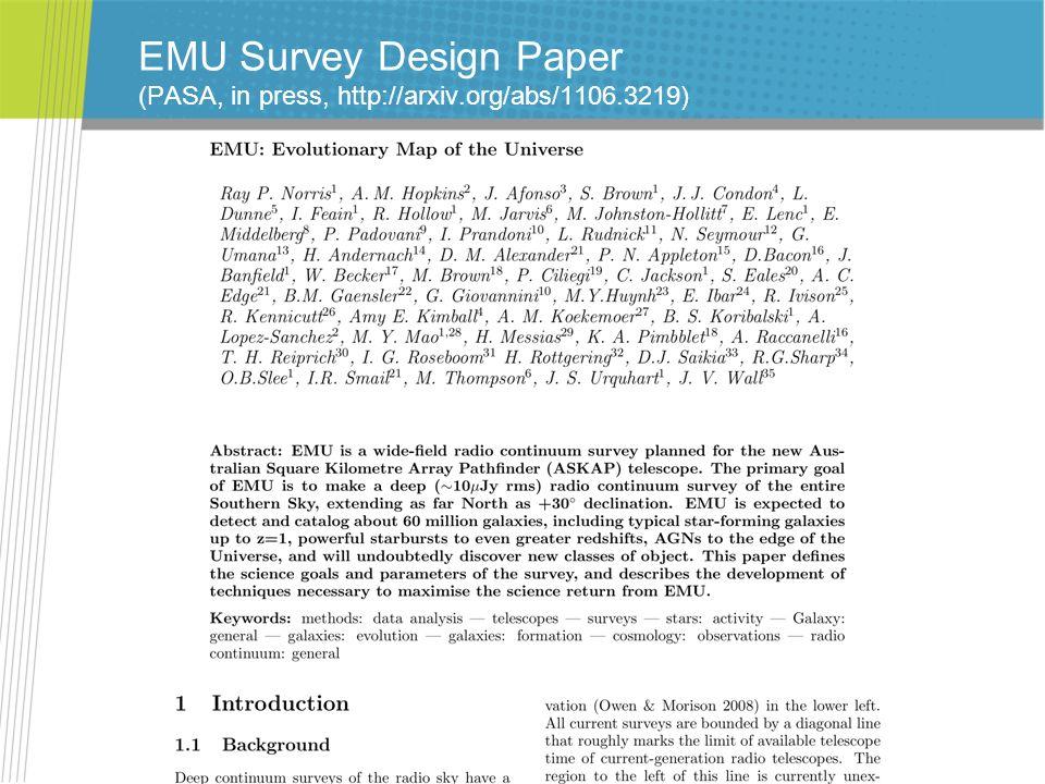 EMU Survey Design Paper (PASA, in press, http://arxiv.org/abs/1106.3219)
