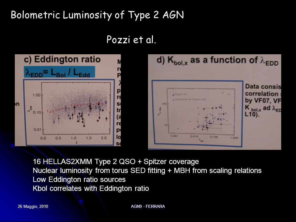 26 Maggio, 2010AGN9 - FERRARA Pozzi et al. Bolometric Luminosity of Type 2 AGN 16 HELLAS2XMM Type 2 QSO + Spitzer coverage Nuclear luminosity from tor