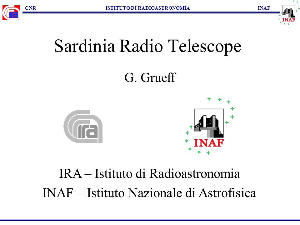 CNR ISTITUTO DI RADIOASTRONOMIA INAF Sardinia Radio Telescope G. Grueff IRA – Istituto di Radioastronomia INAF – Istituto Nazionale di Astrofisica