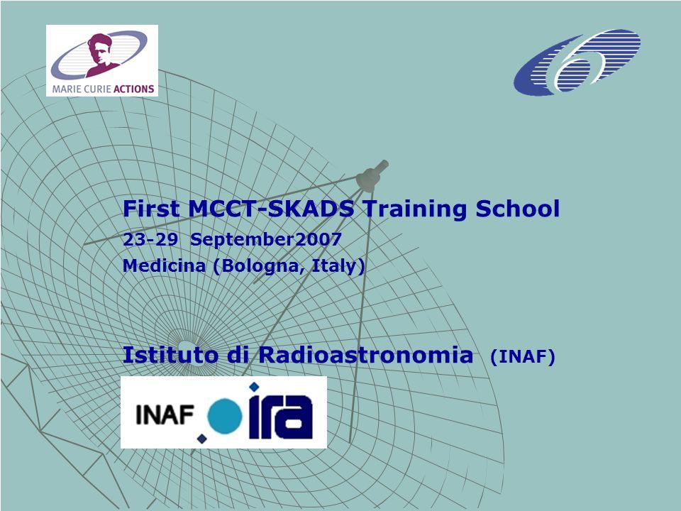 First MCCT-SKADS Training School 23-29 September2007 Medicina (Bologna, Italy) Istituto di Radioastronomia (INAF)