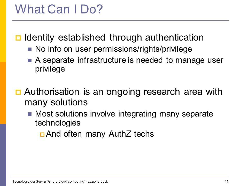 Tecnologia dei Servizi Grid e cloud computing - Lezione 005b 10 Authorization