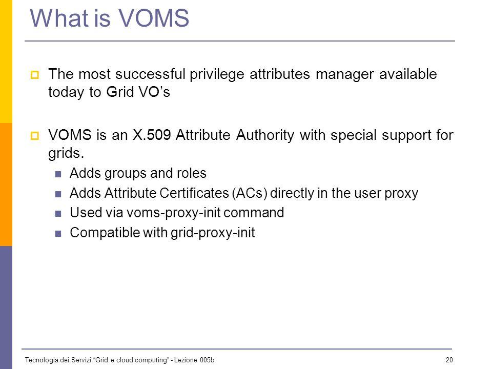 Tecnologia dei Servizi Grid e cloud computing - Lezione 005b 19 VO Management VOMS: Virtual Organization Membership Service