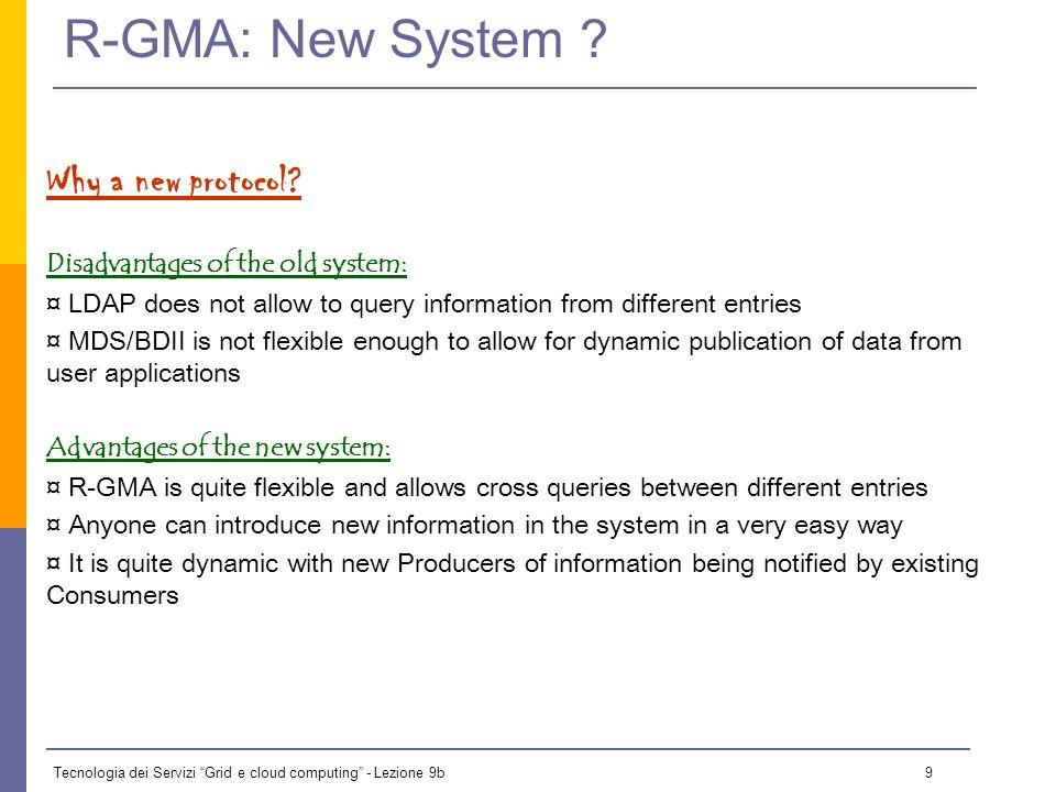 Tecnologia dei Servizi Grid e cloud computing - Lezione 9b 9 R-GMA: New System .