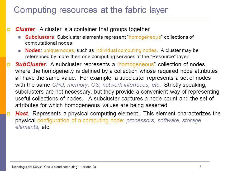 Tecnologia dei Servizi Grid e cloud computing - Lezione 9a 6 Computing resources at the fabric layer Cluster.