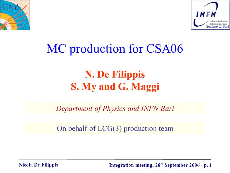 Nicola De Filippis Integration meeting, 28 th September p.