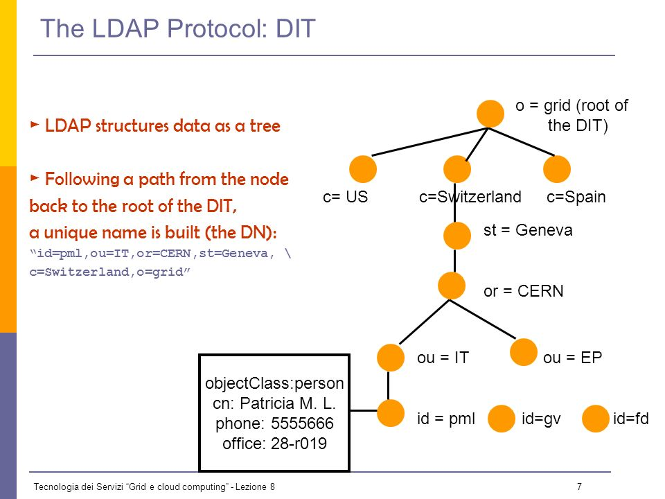 Tecnologia dei Servizi Grid e cloud computing - Lezione 8 6 The LDAP Protocol: Generalities LDAP (Lightweight Directory Access Protocol) It establishes the transport and format of the messages used by a client to access a directory LDAP can be used as access protocol for a large number of databases It provides a standard data model; the DIT (Directory Information Tree) It is the internal protocol used by the EGEE/LCG services to share information