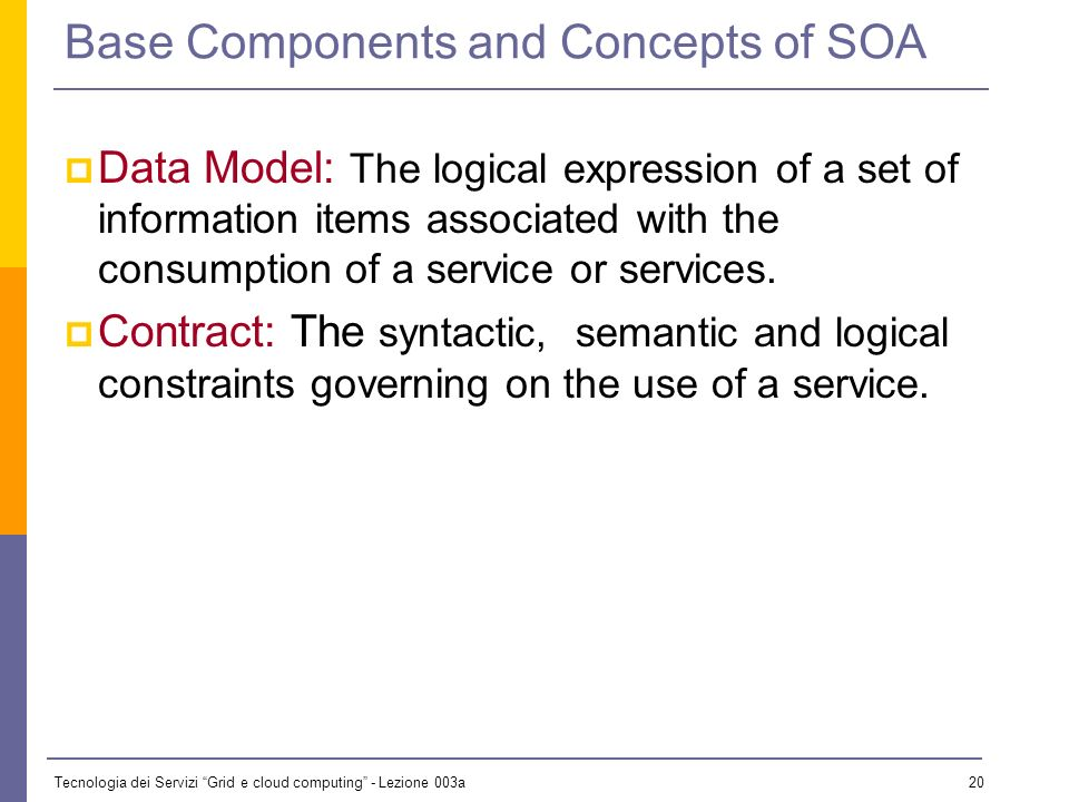 Tecnologia dei Servizi Grid e cloud computing - Lezione 003a 19 Base Components Service: A behavior, or set of behaviors provided for use by another entity.