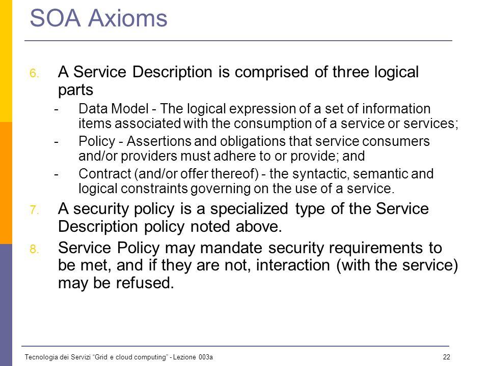Tecnologia dei Servizi Grid e cloud computing - Lezione 003a 21 SOA Axioms 1.