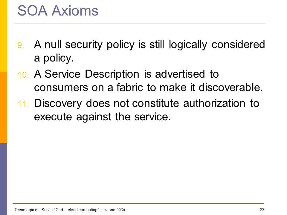 Tecnologia dei Servizi Grid e cloud computing - Lezione 003a 22 SOA Axioms 6.