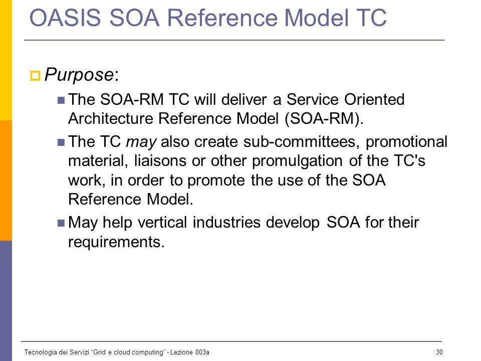 Tecnologia dei Servizi Grid e cloud computing - Lezione 003a 29 OASIS SOA Reference Model Chartered February 2005 Problem to be solved: Service Oriented Architecture (SOA) as a term is being used in an increasing number of contexts and specific technology implementations, sometimes with differing or conflicting understandings of implicit terminology and components.