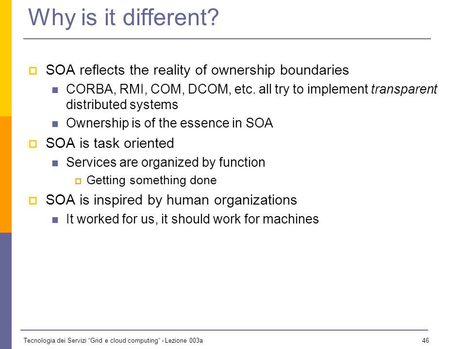 Tecnologia dei Servizi Grid e cloud computing - Lezione 003a 45 OO vs.
