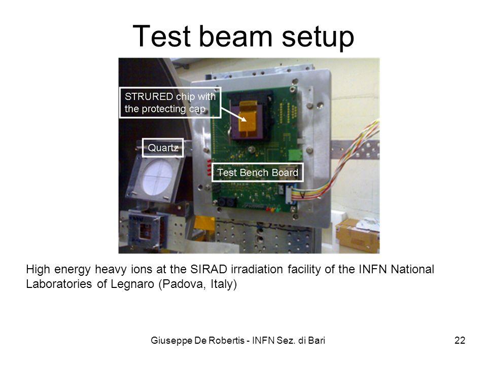 Test beam setup Giuseppe De Robertis - INFN Sez. di Bari 22 High energy heavy ions at the SIRAD irradiation facility of the INFN National Laboratories