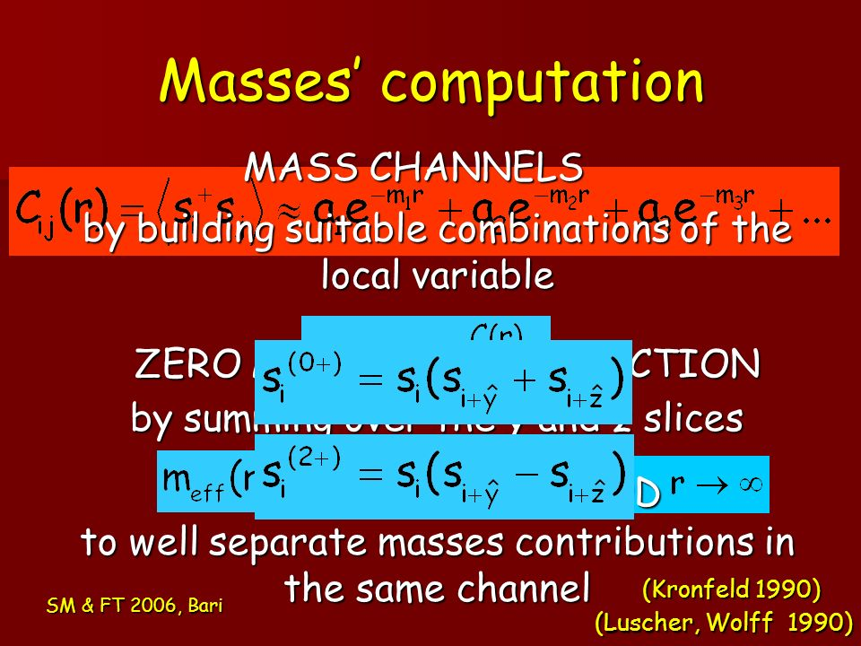 Masses computation SM & FT 2006, Bari VARIATIONAL METHOD to well separate masses contributions in the same channel by summing over the y and z slices