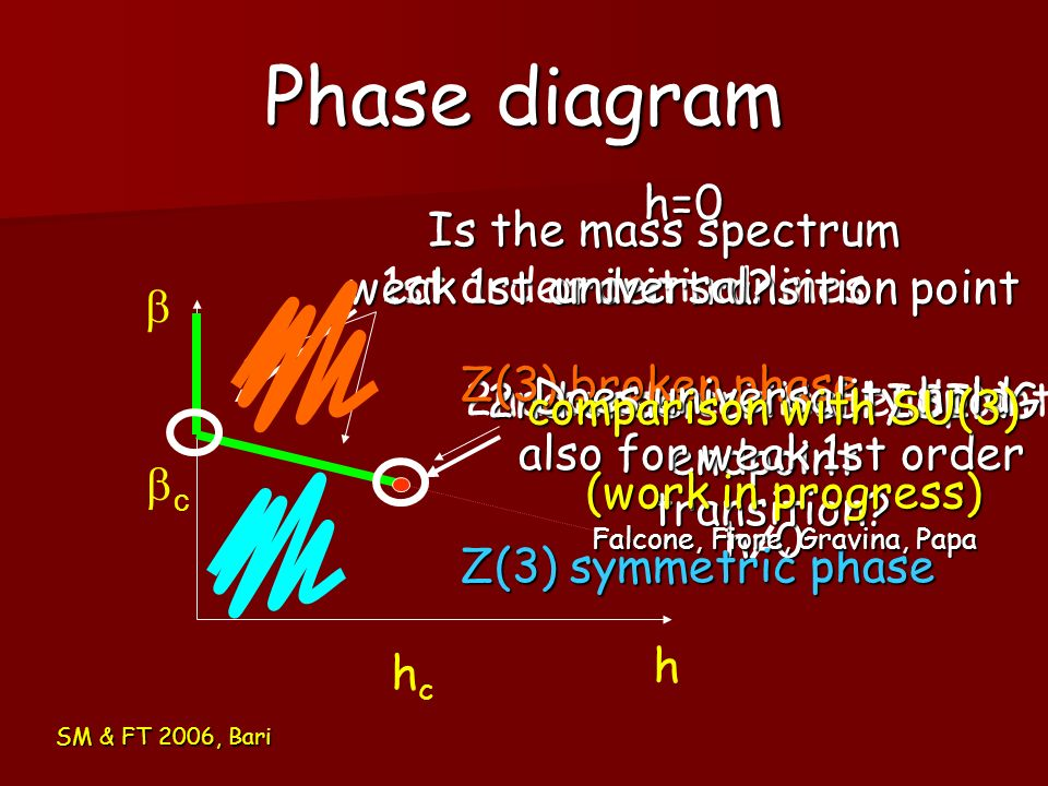 Phase diagram SM & FT 2006, Bari h c hchc 1st order critical lines 2nd order critical endpoint h=0 weak 1st order transition point 2nd order critical