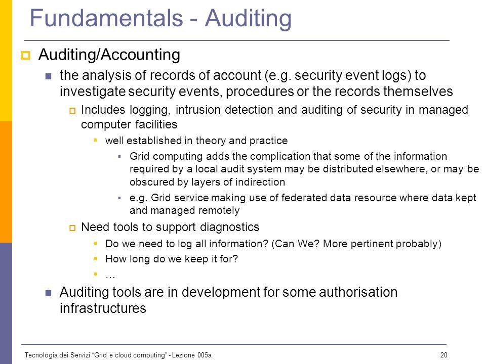 Tecnologia dei Servizi Grid e cloud computing - Lezione 005a 19 Fundamentals - Authorisation concerned with controlling access to services based on po