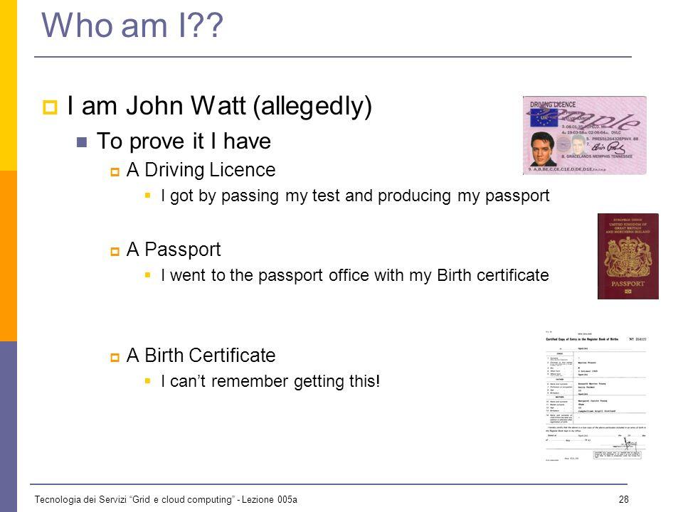 Tecnologia dei Servizi Grid e cloud computing - Lezione 005a 27 Who Am I?? I am The President of the United States The Secretary General of the United