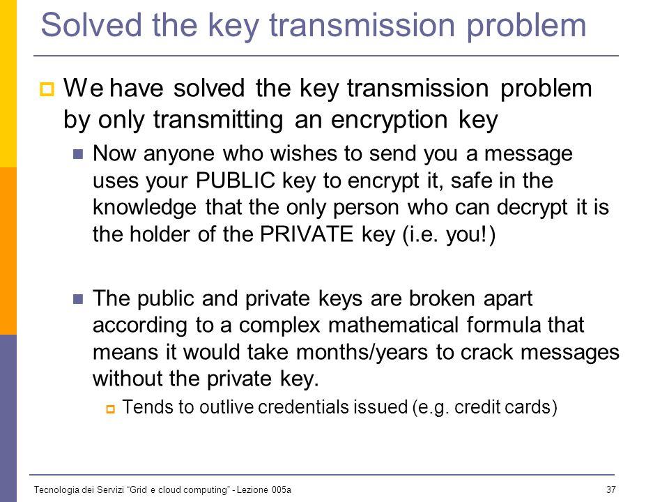 Tecnologia dei Servizi Grid e cloud computing - Lezione 005a 36 Public Key Algorithms Every user has two keys: one private and one public: it is impos