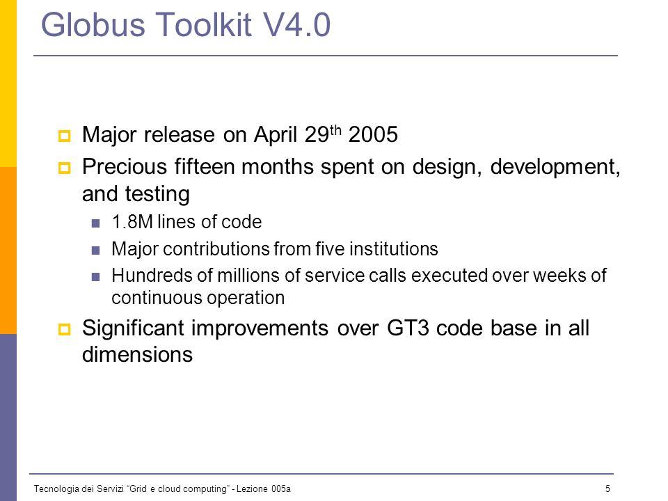 Tecnologia dei Servizi Grid e cloud computing - Lezione 005a 4 Globus is Service-Oriented Infrastructure Technology Software for service-oriented infr