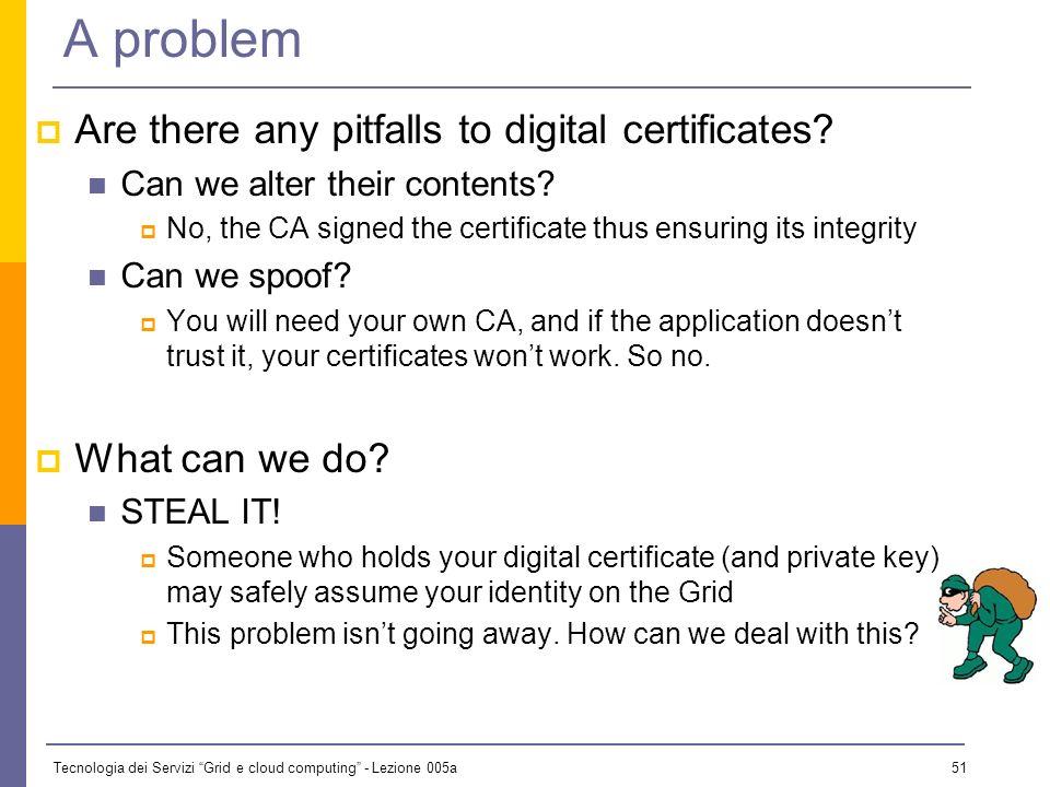 Tecnologia dei Servizi Grid e cloud computing - Lezione 005a 50 Certificate Authenticity CAs confirm the certificates authenticity by digitally signin