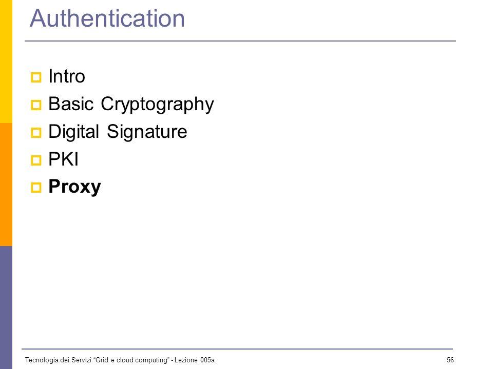 Tecnologia dei Servizi Grid e cloud computing - Lezione 005a 55 Alicepub DS Cert PKI: Authentication with CertificatesPriv Bob verifies the digital si