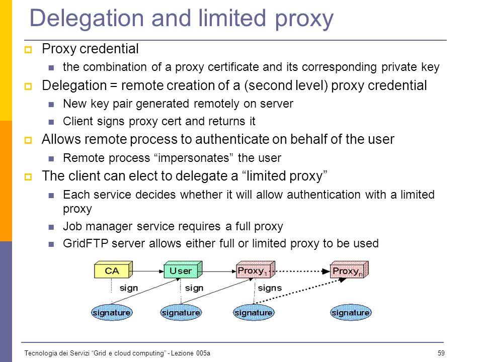 Tecnologia dei Servizi Grid e cloud computing - Lezione 005a 58 Creating a proxy Command: grid-proxy-init User enters pass phrase, which is used to de