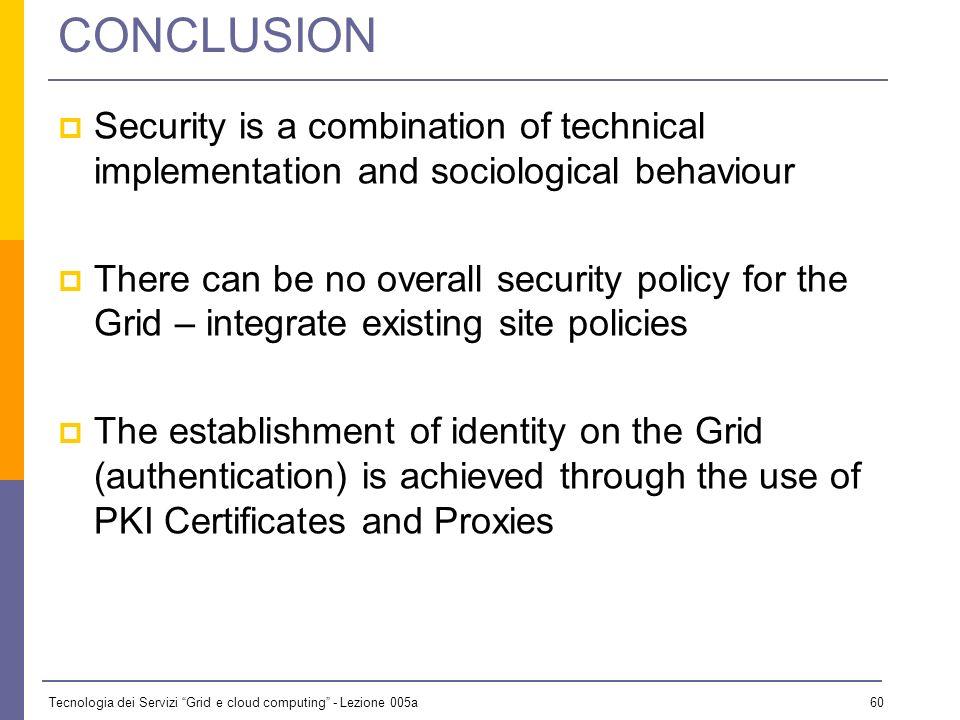 Tecnologia dei Servizi Grid e cloud computing - Lezione 005a 59 Delegation and limited proxy Proxy credential the combination of a proxy certificate a
