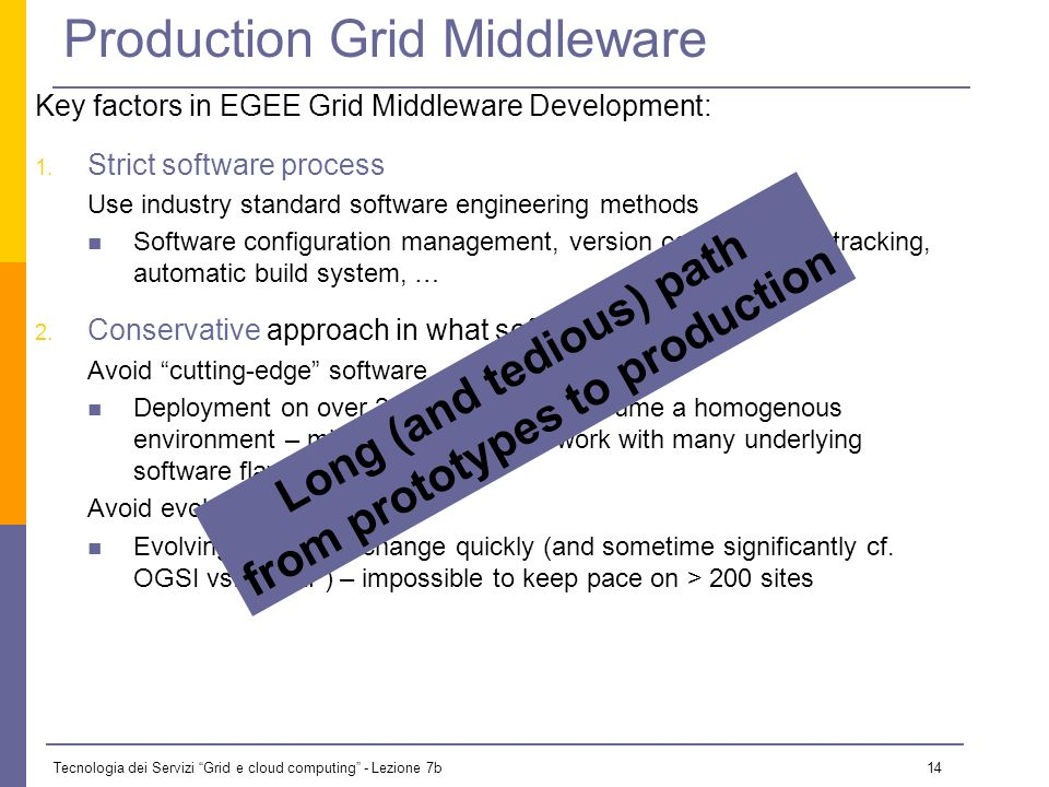 Tecnologia dei Servizi Grid e cloud computing - Lezione 7b 13 gLite Middleware Distribution Combines components from different providers Condor and Gl