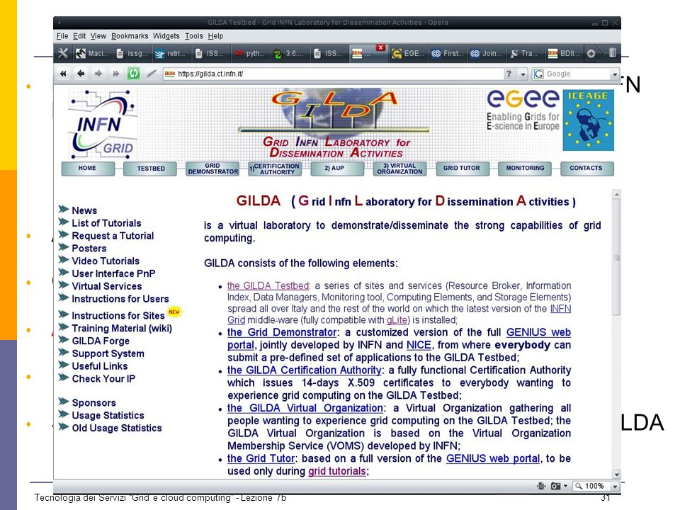 Tecnologia dei Servizi Grid e cloud computing - Lezione 7b 30 The global grid e-Infrastructures adopting gLite e-Infrastructures interoperable or in p