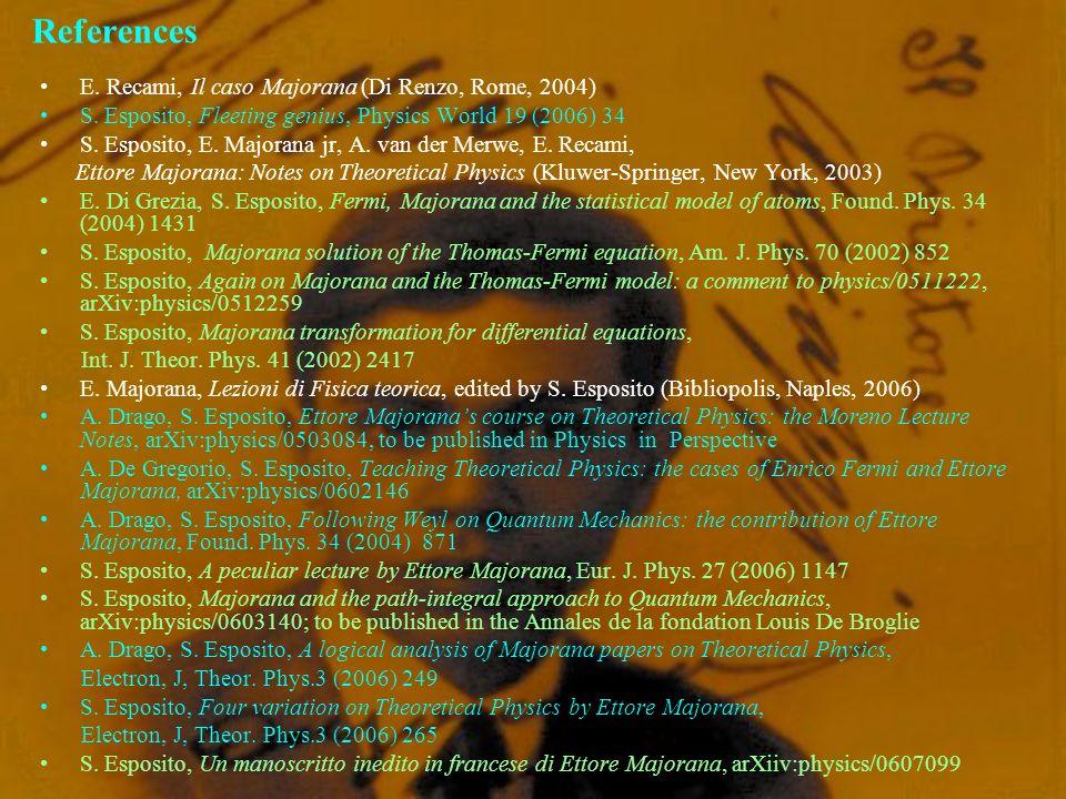 References E. Recami, Il caso Majorana (Di Renzo, Rome, 2004) S. Esposito, Fleeting genius, Physics World 19 (2006) 34 S. Esposito, E. Majorana jr, A.