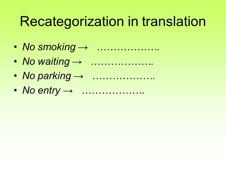 Recategorization in translation No smoking ………………. No waiting ………………. No parking ………………. No entry ……………….
