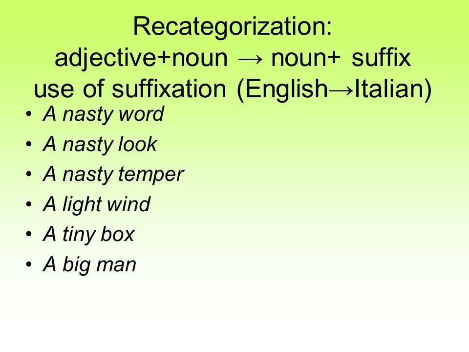 Recategorization: adjective+noun noun+ suffix use of suffixation (EnglishItalian) A nasty word A nasty look A nasty temper A light wind A tiny box A b