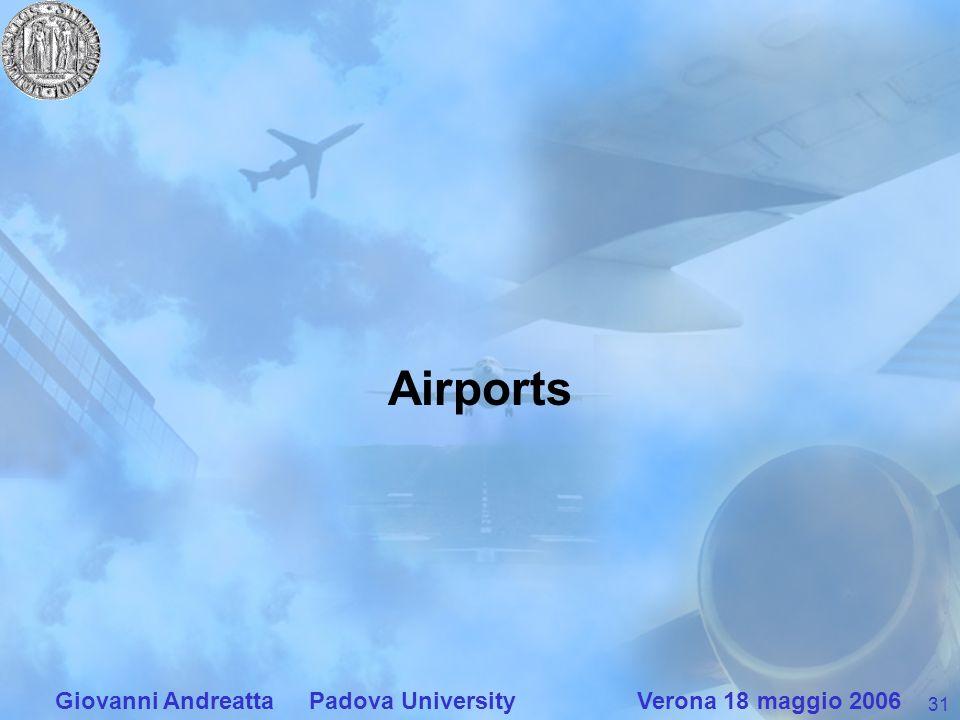 31 Giovanni Andreatta Padova University Verona 18 maggio 2006 Airports