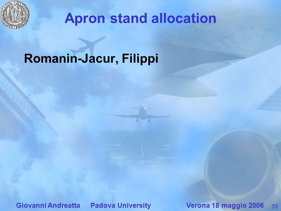35 Giovanni Andreatta Padova University Verona 18 maggio 2006 Apron stand allocation Romanin-Jacur, Filippi