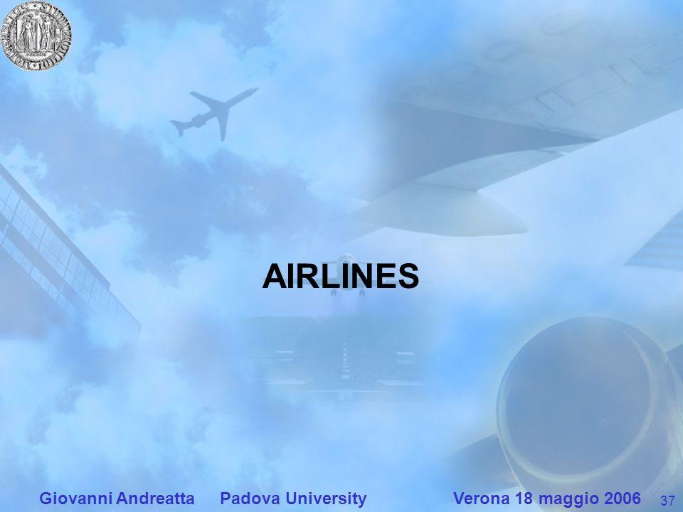 37 Giovanni Andreatta Padova University Verona 18 maggio 2006 AIRLINES