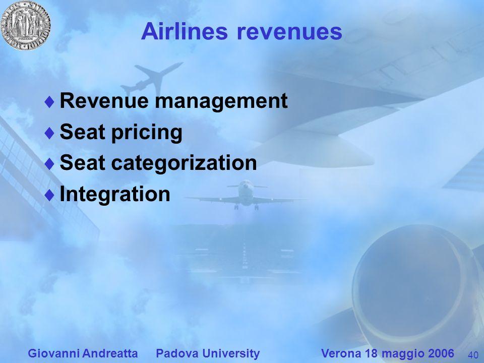 40 Giovanni Andreatta Padova University Verona 18 maggio 2006 Airlines revenues Revenue management Seat pricing Seat categorization Integration