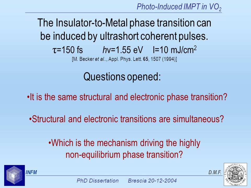 PhD Dissertation Brescia 20-12-2004 INFMD.M.F. Photo-Induced IMPT in VO 2 The Insulator-to-Metal phase transition can be induced by ultrashort coheren