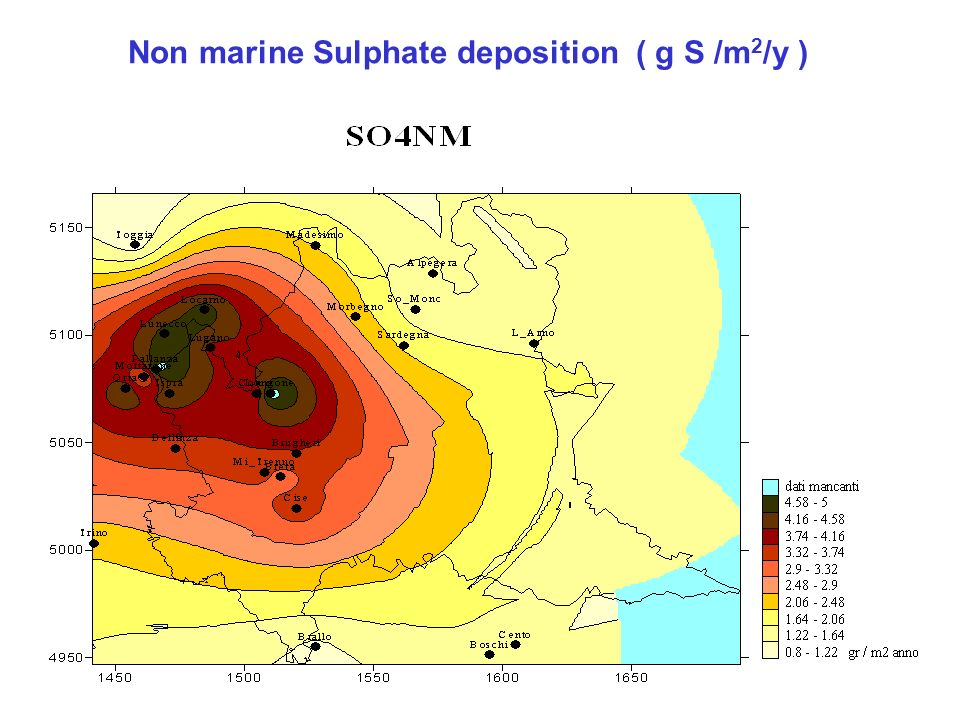 Non marine Sulphate deposition ( g S /m 2 /y )