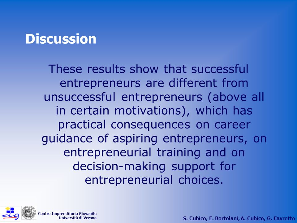 S. Cubico, E. Bortolani, A. Cubico, G. Favretto Centro Imprenditoria Giovanile Università di Verona Discussion These results show that successful entr