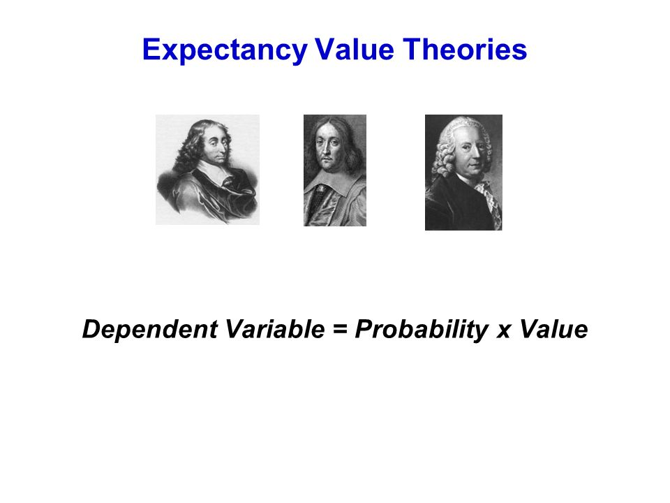 Expectancy Value Theories Dependent Variable = Probability x Value