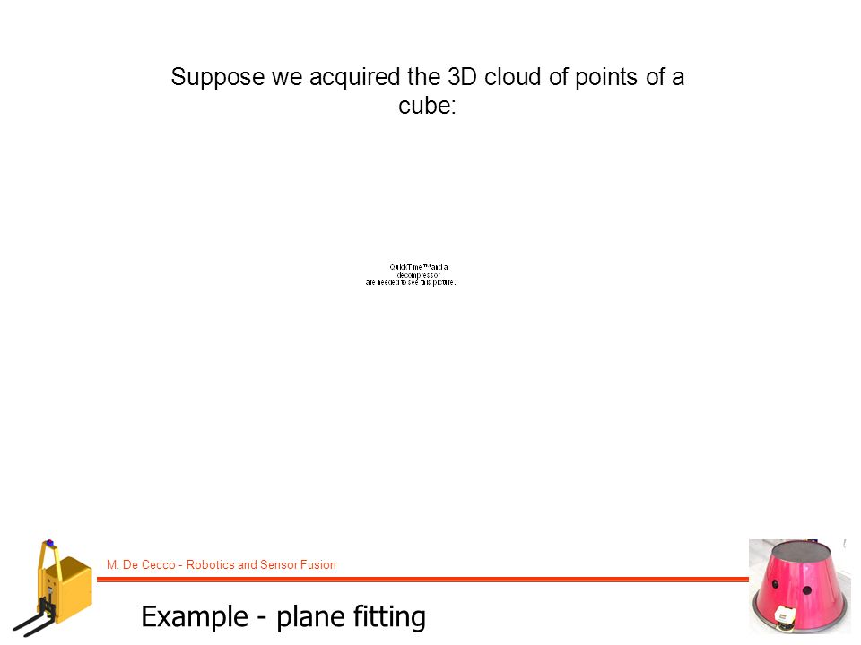 M. De Cecco - Robotics and Sensor Fusion Example - plane fitting Suppose we acquired the 3D cloud of points of a cube:
